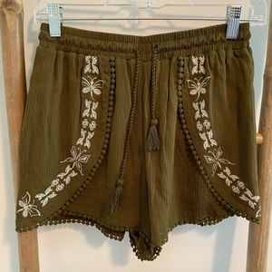 Olive color crinkled shorts with tasseled cord